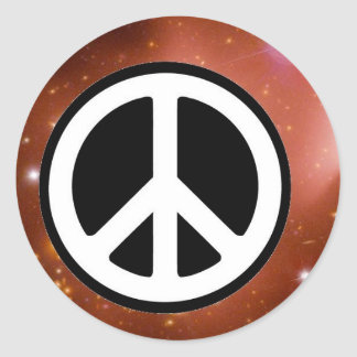 PEACE SIGN IN SPACE CLASSIC ROUND STICKER