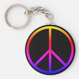 Peace Sign Keychain - Black & Multi Color