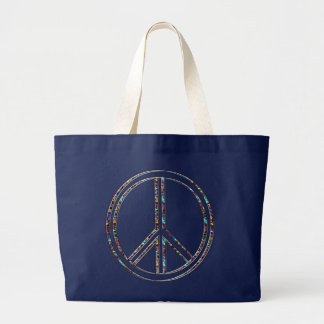 Peace sign large tote bag