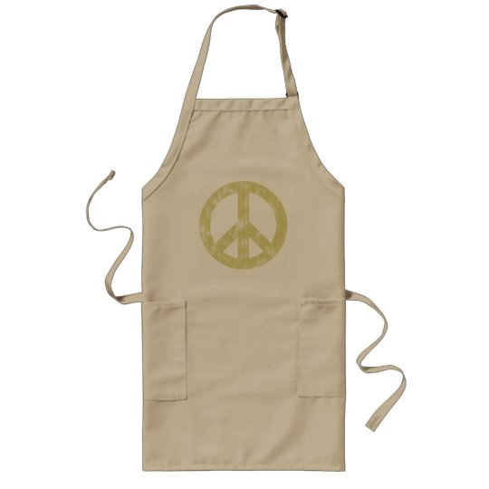 Peace sign light distressed long apron