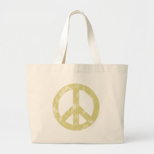 Peace sign light distressed tote bags
