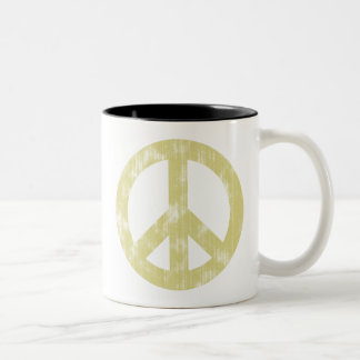Peace sign light distressed Two-Tone coffee mug