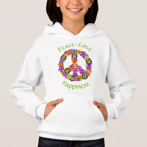 Peace Sign Love  Happiness on White Hoodie