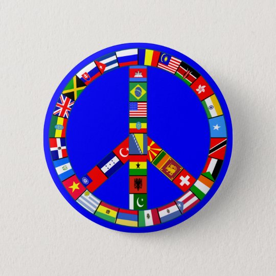 Peace Sign Made of Flags Products Pinback Button