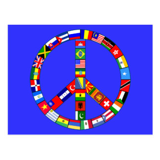 Peace Sign Made of Flags Products Postcard