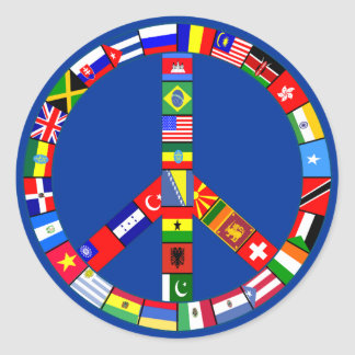 Peace Sign Made of Flags Products Classic Round Sticker