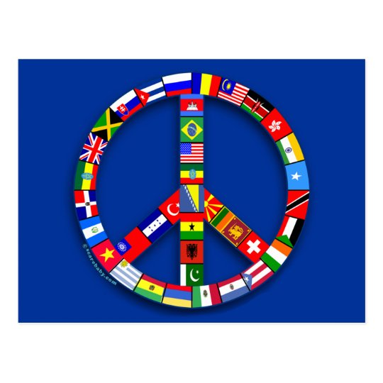 Peace Sign Made of Flags T-shirts, Mugs, Gifts Postcard