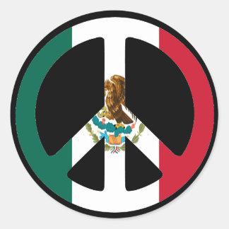 Peace Sign Mexico Classic Round Sticker