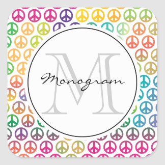 Peace sign monogram template square sticker