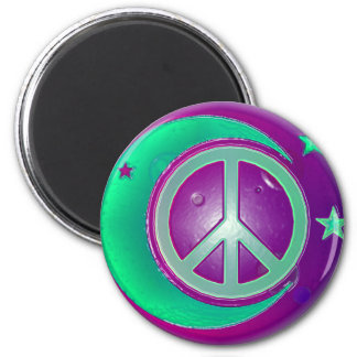 Peace Sign, Moon and 3 Stars 2 Inch Round Magnet