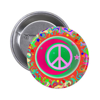 Peace Sign, Moon, Stars & Everything 2 Inch Round Button