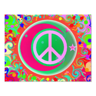 Peace Sign, Moon, Stars & Everything 4.25x5.5 Paper Invitation Card