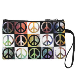 Peace Sign Mosaic Wristlet Clutches