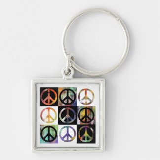 Peace Sign Mosaic Silver-Colored Square Keychain