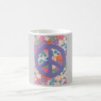 Peace Sign Mug/Lilac&Flowers Coffee Mug