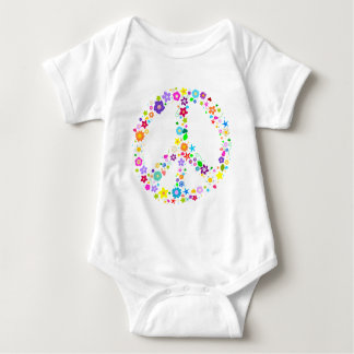 Peace sign of Flowers Baby Bodysuit