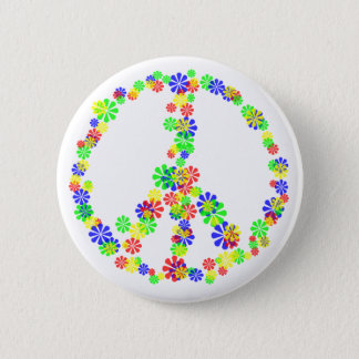 Peace Sign of Flowers Button