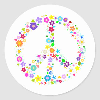 Peace sign of Flowers Classic Round Sticker