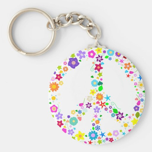 Peace sign of Flowers Key Chain