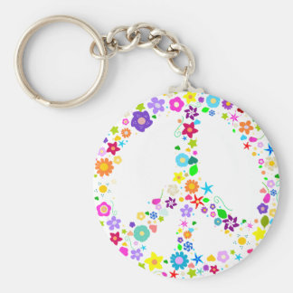 Peace sign of Flowers Keychain