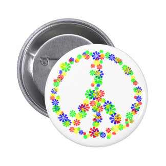 Peace Sign of Flowers Pinback Buttons