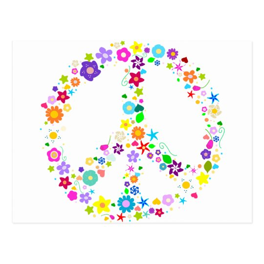 Peace sign of Flowers Postcard