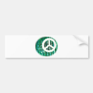 Peace sign on green beads bumper sticker