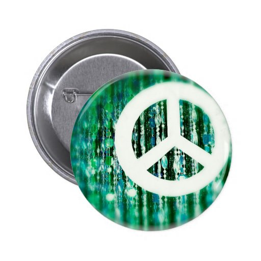 Peace sign on green beads pinback button