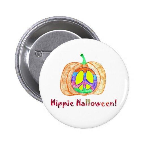Peace Sign on Pumpkin Hippie Halloween Button
