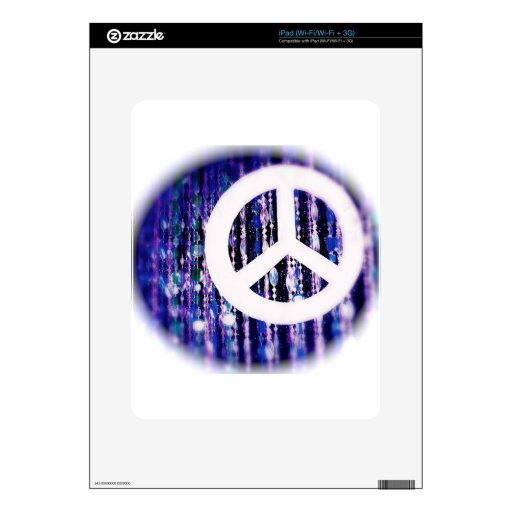 Peace sign on purple beads decals for iPad