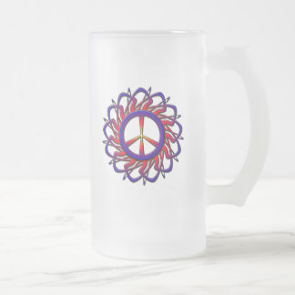 PEACE SIGN ORNAMENT FROSTED GLASS BEER MUG