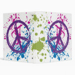 PEACE SIGN PAINT SPLATTER 3 RING BINDERS