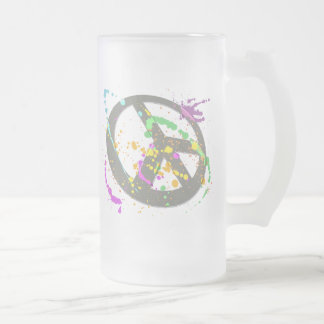 PEACE SIGN PAINT SPLATTER FROSTED GLASS BEER MUG