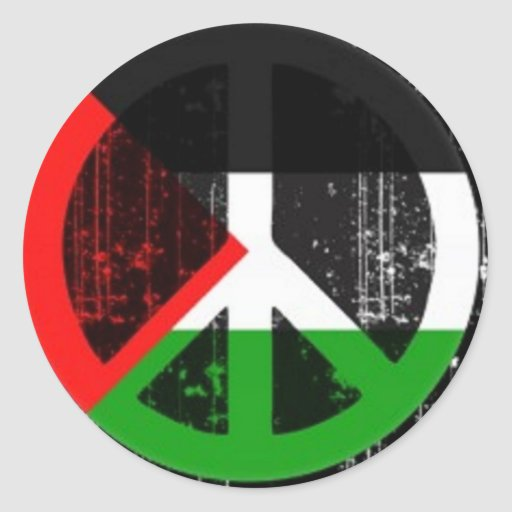 Peace sign Palestine Round Stickers