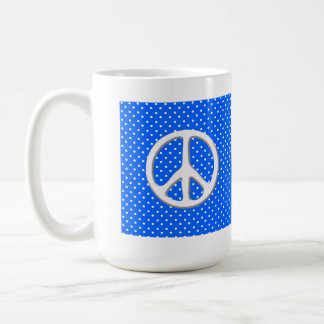 Peace Sign Party in Blue Classic White Coffee Mug