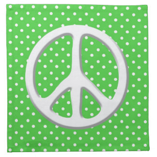 Peace Sign Party in Green Cloth Napkins
