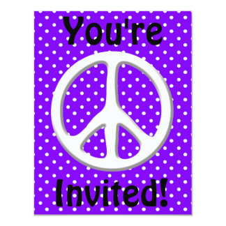 Peace Sign Party in Purple 4.25x5.5 Paper Invitation Card