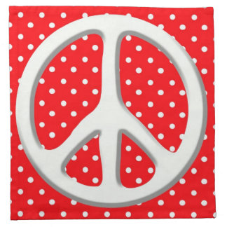 Peace Sign Party in Red Cloth Napkin