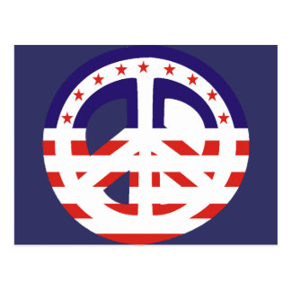 Peace Sign Patriotic Post Card