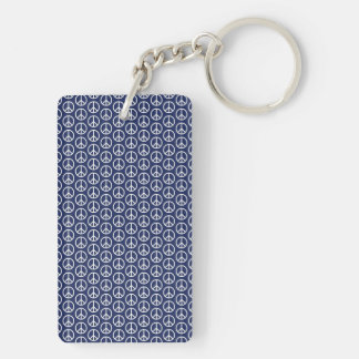 Peace Sign Pattern on Midnight Blue Keychain