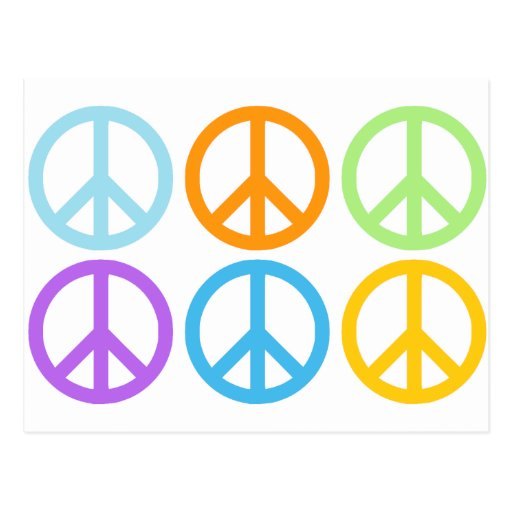 Peace Sign Pattern Postcard