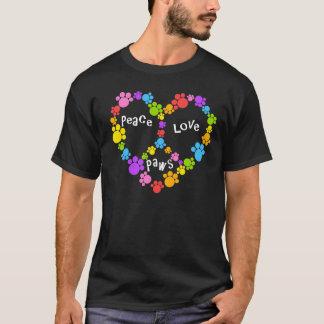 peace sign paws! Rainbow heart! T-Shirt