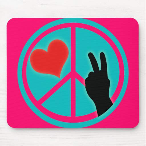 Peace Sign Peace and Love Mouse Pad