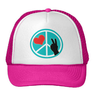 Peace Sign Peace and Love Trucker Hat