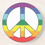Peace Sign Peace Symbol with Flag Colors Beverage Coaster