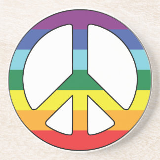Peace Sign Peace Symbol with Flag Colors Drink Coaster