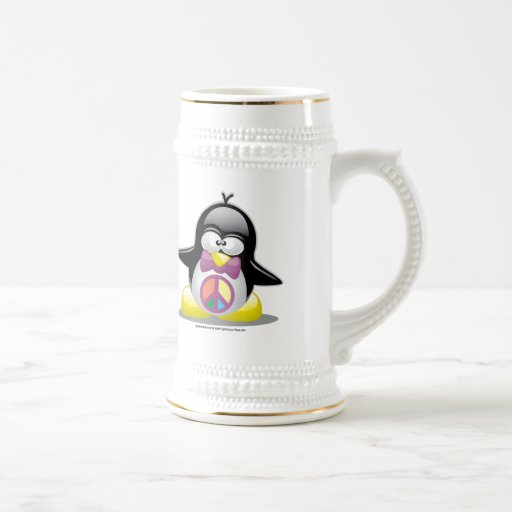 Peace Sign Penguin 18 Oz Beer Stein