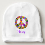"""Peace Sign Personalized Baby Beanie<br><div class=""""desc"""">A floral peace sign shades of pink,  turquoise,  yellow,  orange,  purple,  green and black. Customize the text to the name you&#39;d like.  You can also change the font,  font size and font color. This should only be placed on a WHITE beanie.</div>"""