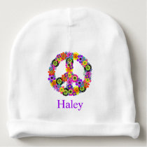 Peace Sign Personalized Baby Beanie