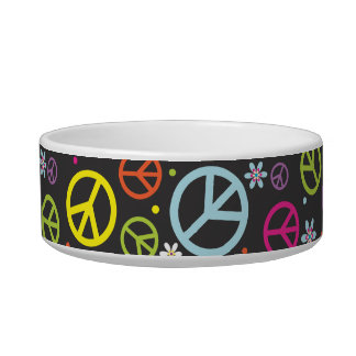 Peace Sign | Personalized Cat Dish